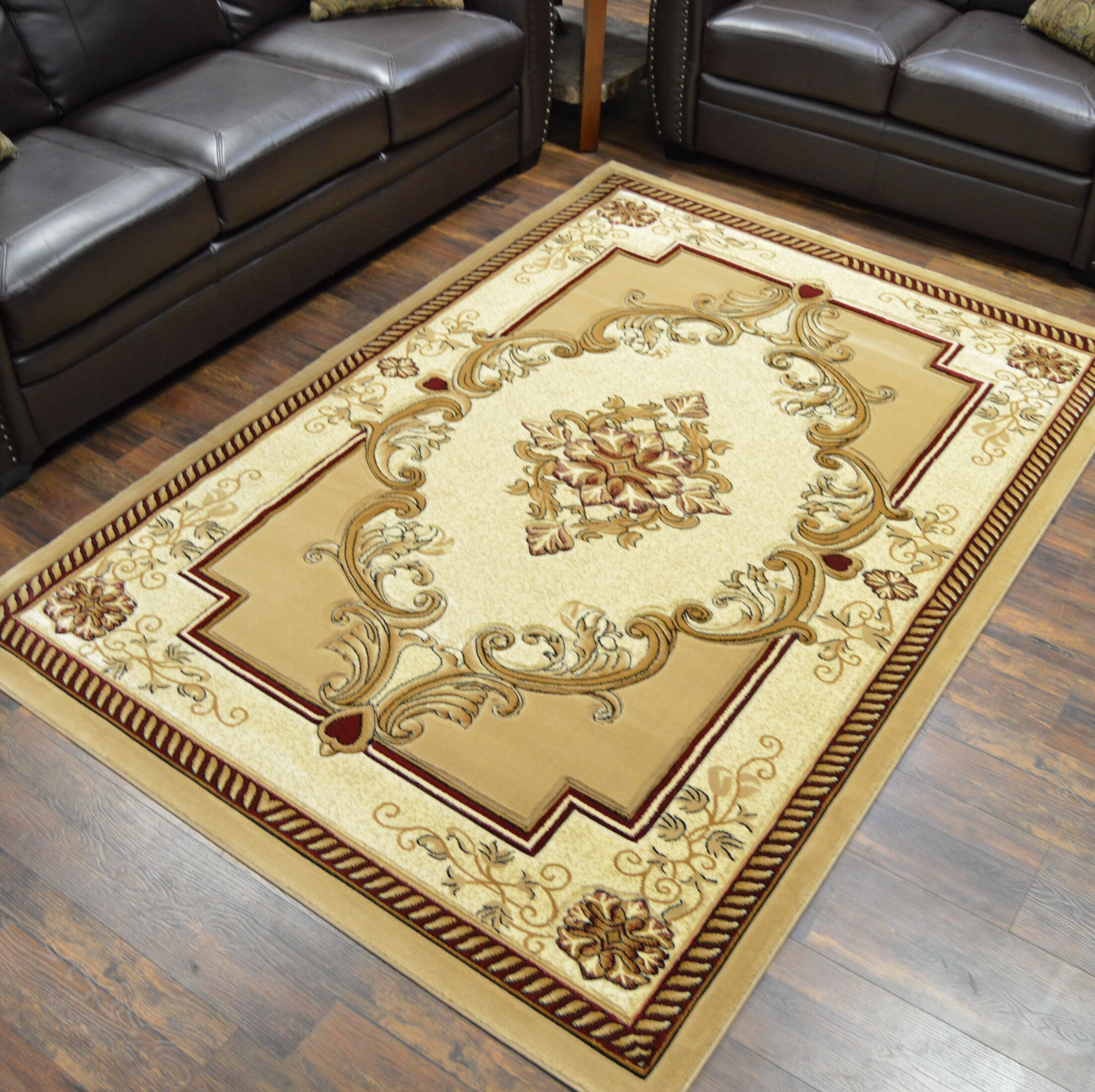 Ramsel 3D Traditional Oriental Floral Beige Area Rug Rug Size: Rectangle 4' x 5'3