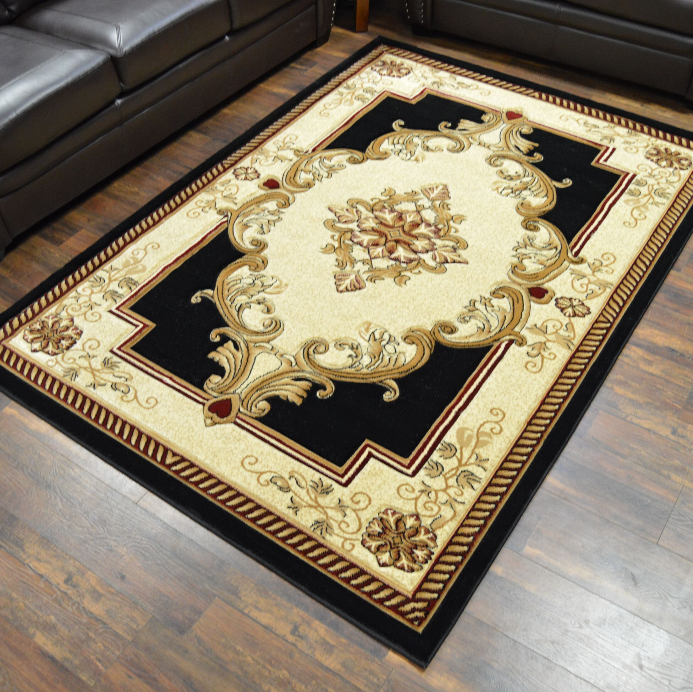 Ramsel 3D Traditional Oriental Floral Black Area Rug Rug Size: Rectangle 9'2