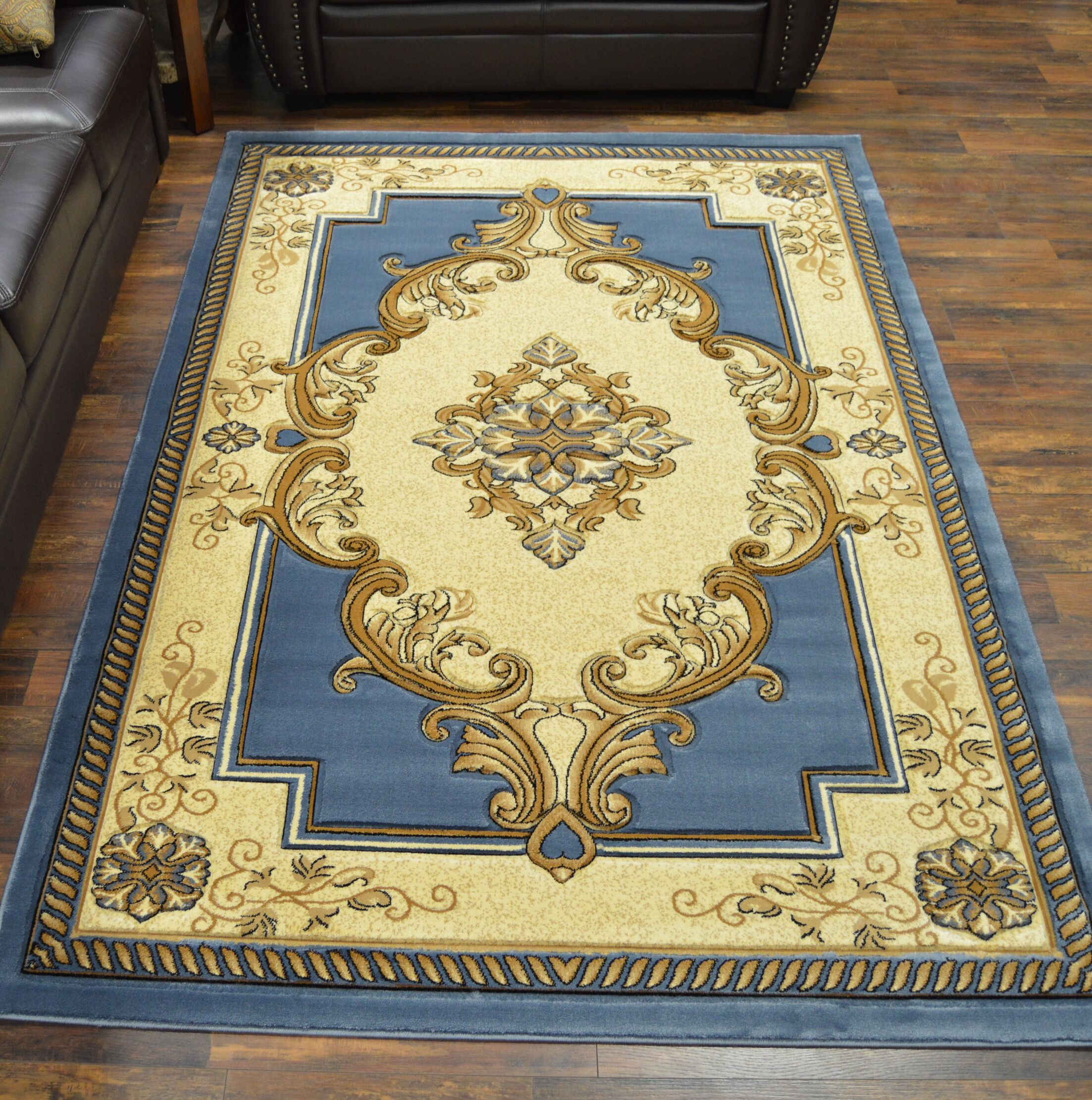 Ramsel 3D Traditional Oriental Floral Blue Area Rug Rug Size: Rectangle 6'6