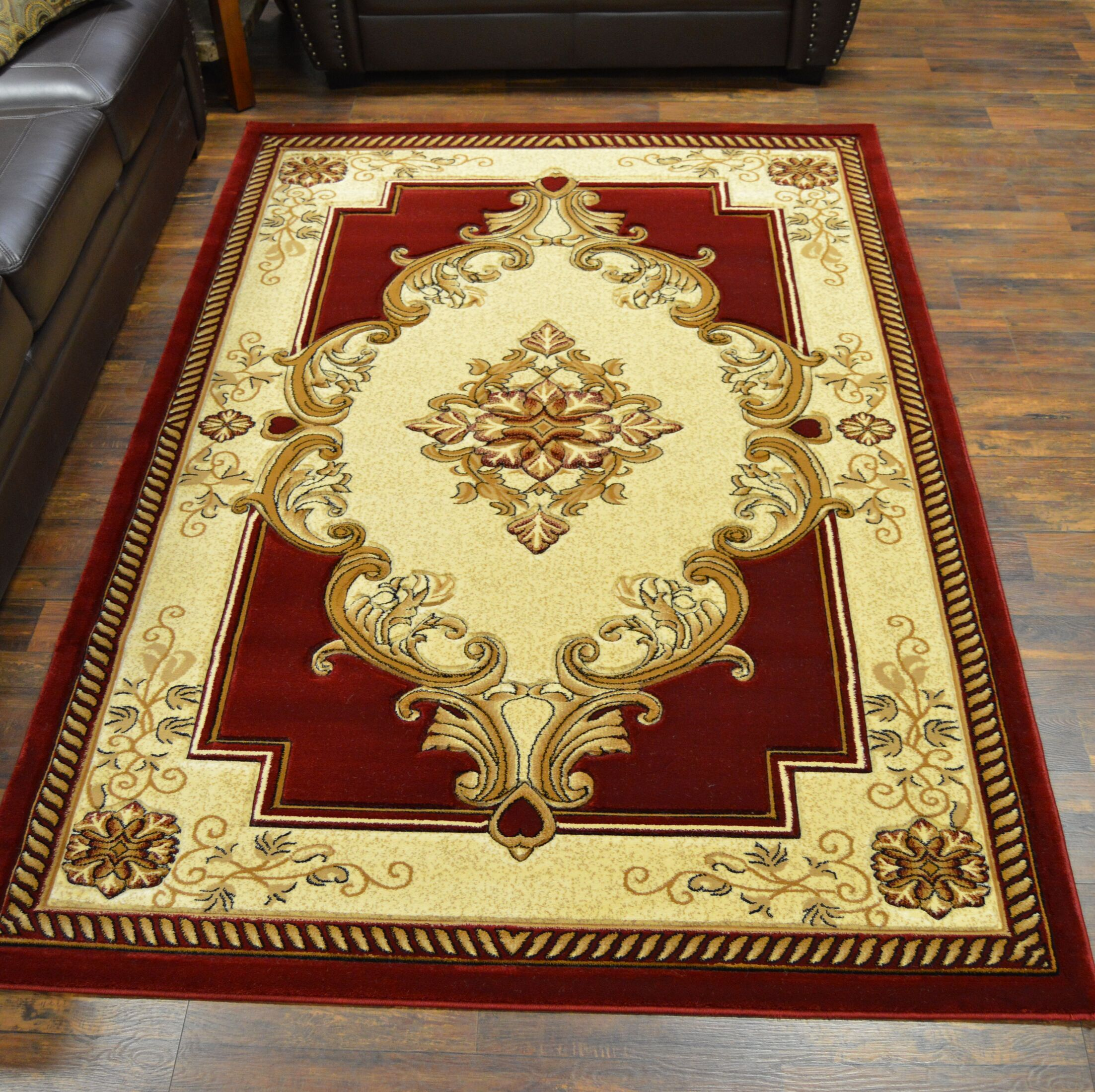 Ramsel 3D Traditional Oriental Floral Burgundy Area Rug Rug Size: Rectangle 5'2