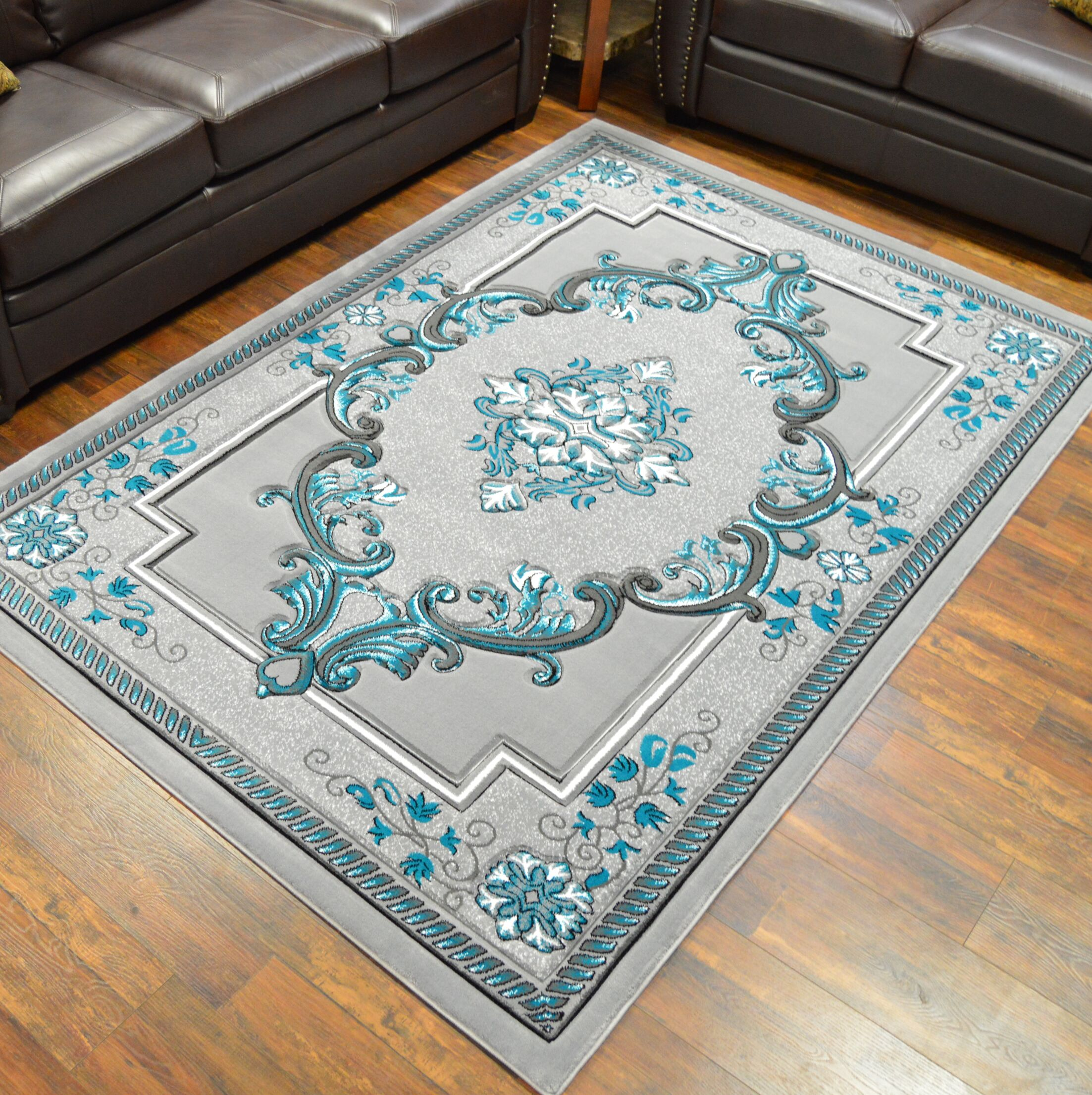 Ramsel 3D Traditional Oriental Floral Gray/Turquoise Area Rug Rug Size: Rectangle 6'6