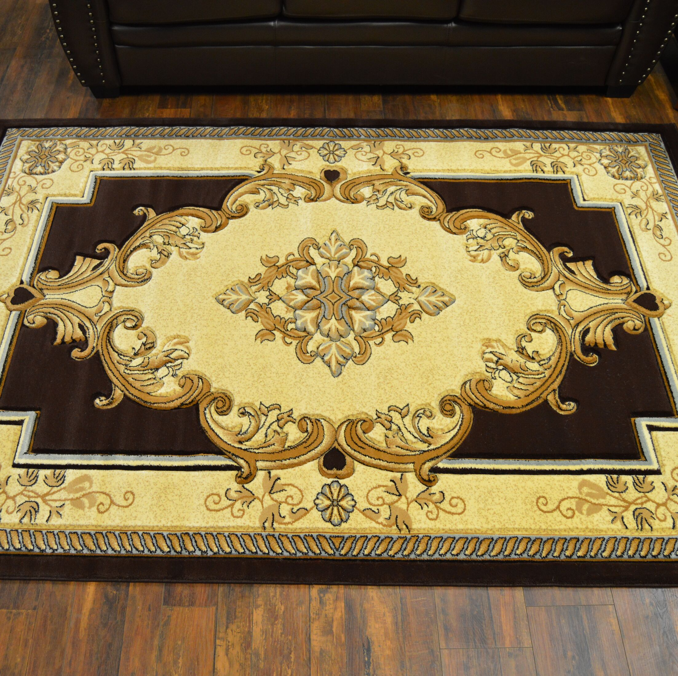 Ramsel 3D Traditional Oriental Floral Brown Area Rug Rug Size: Rectangle 7'9