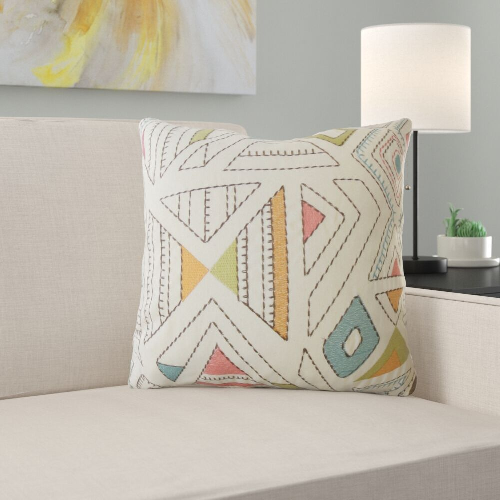 Hana Geometric Cotton Pillow Size: 24