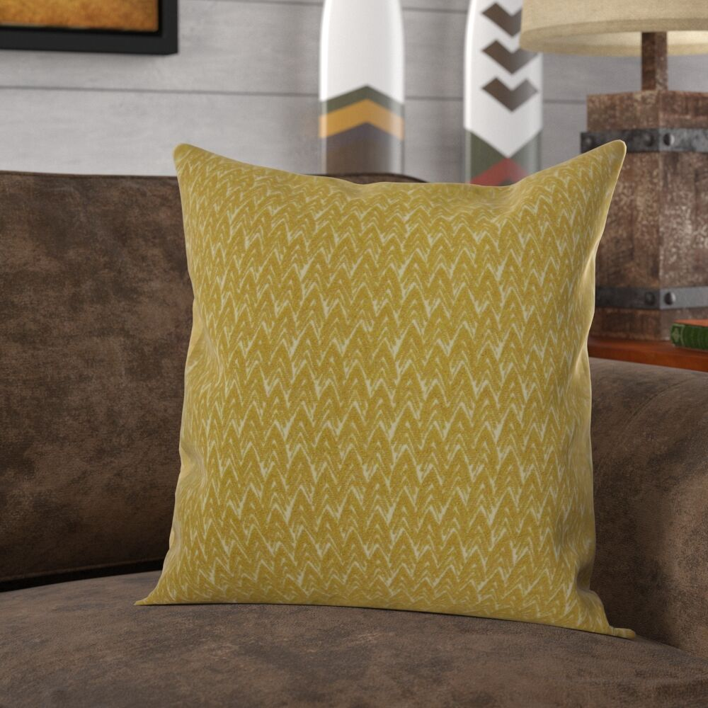 Roy Chevron Pillow Color: Mustard, Size: 24