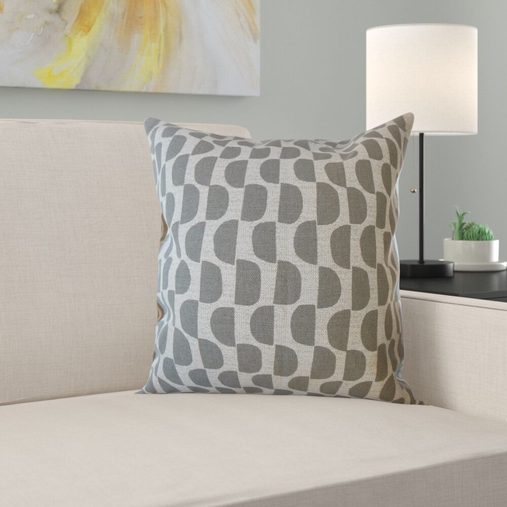Davina Geometric Cotton Pillow Size: 18