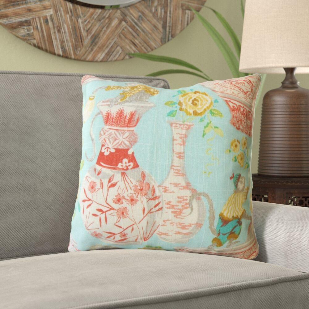 Morrell Chinoiserie Linen Pillow Size: 20