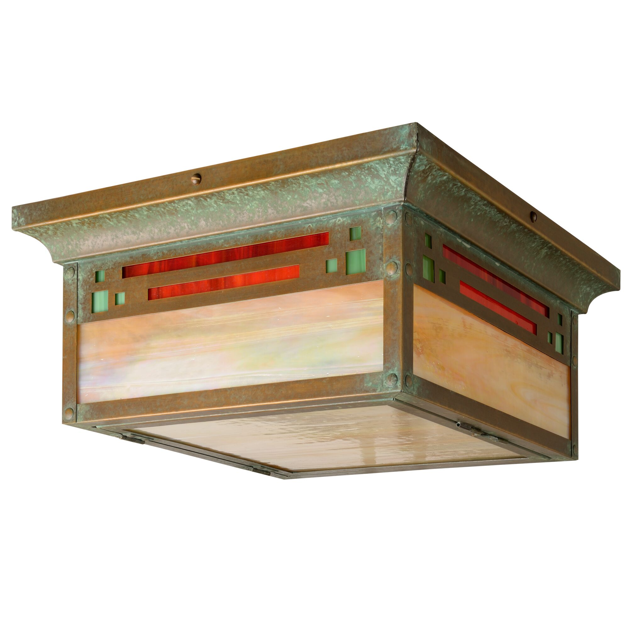 Polson 2-Light Flush Mount Shade Color: Honey, Fixture Finish: New Verde