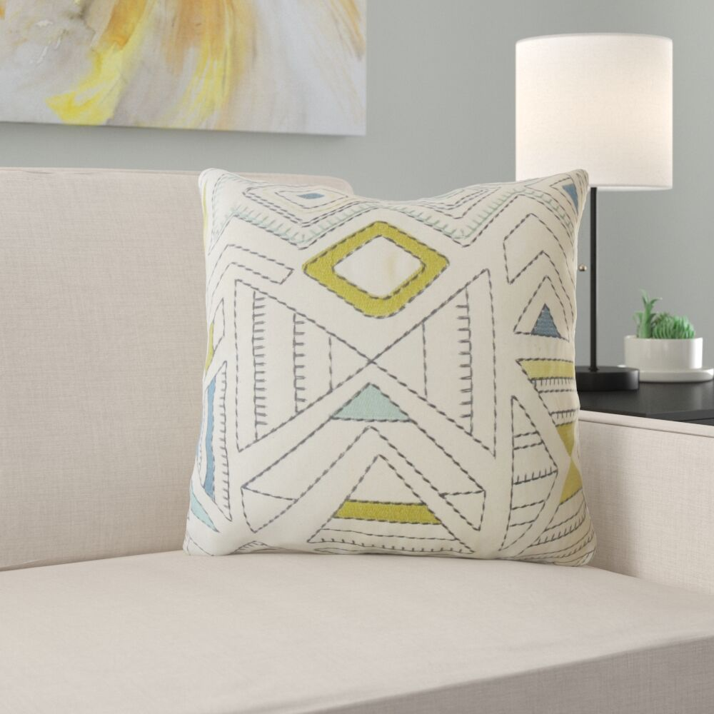 Hana Geometric Cotton Pillow Size: 22