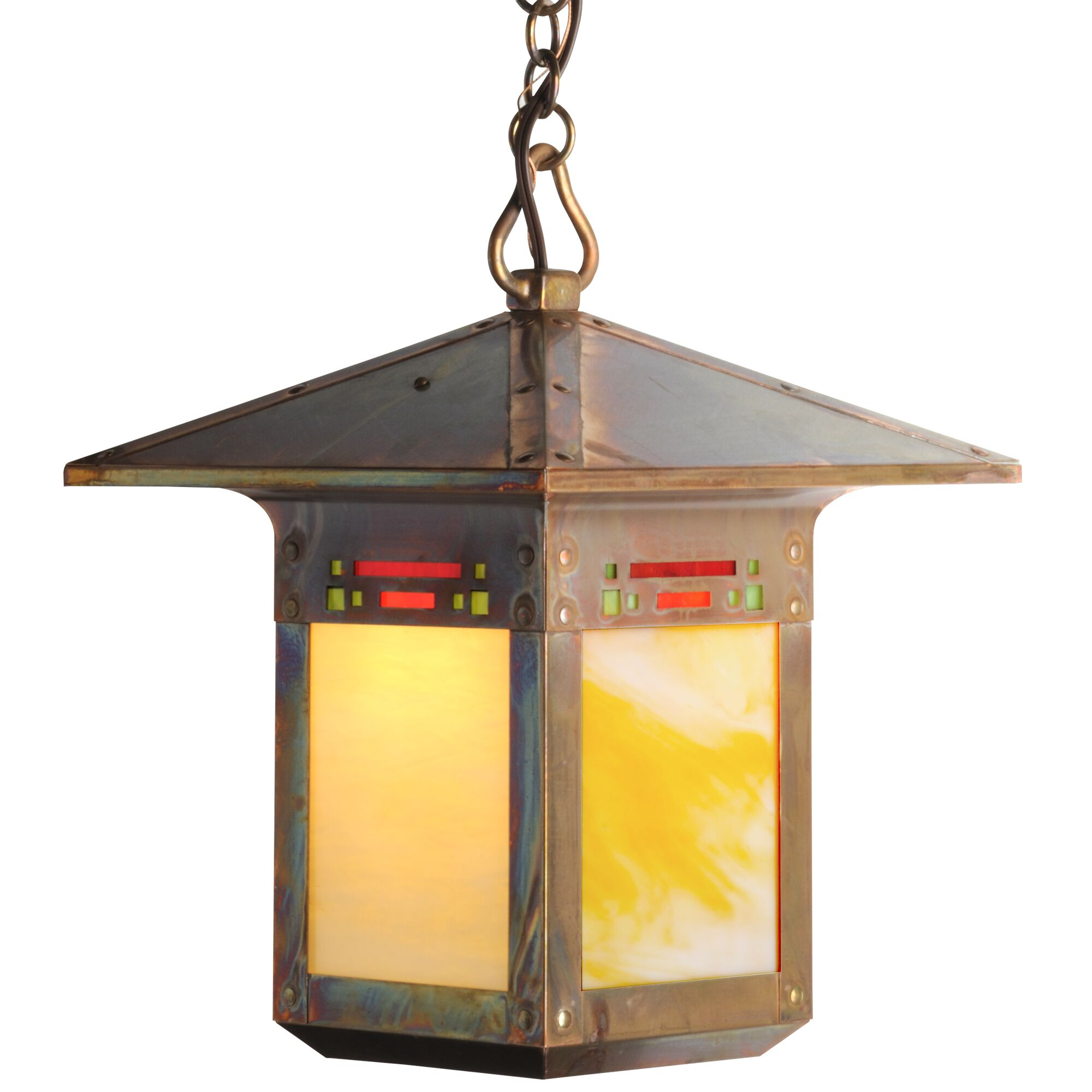 Pullman 1-Light Lantern Pendant Shade Color: Gold Iridescent, Finish: Textured Black, Size: 53