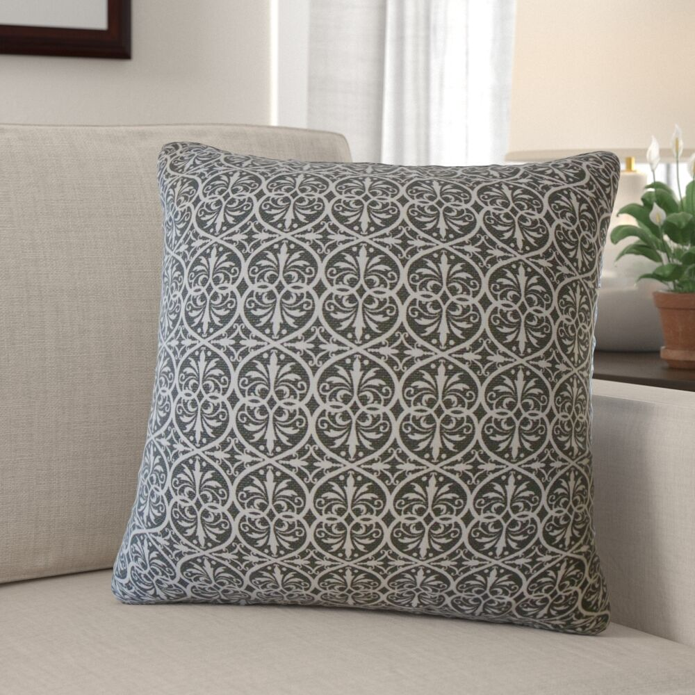Walters Damask Pillow Color: Graphite, Size: 20