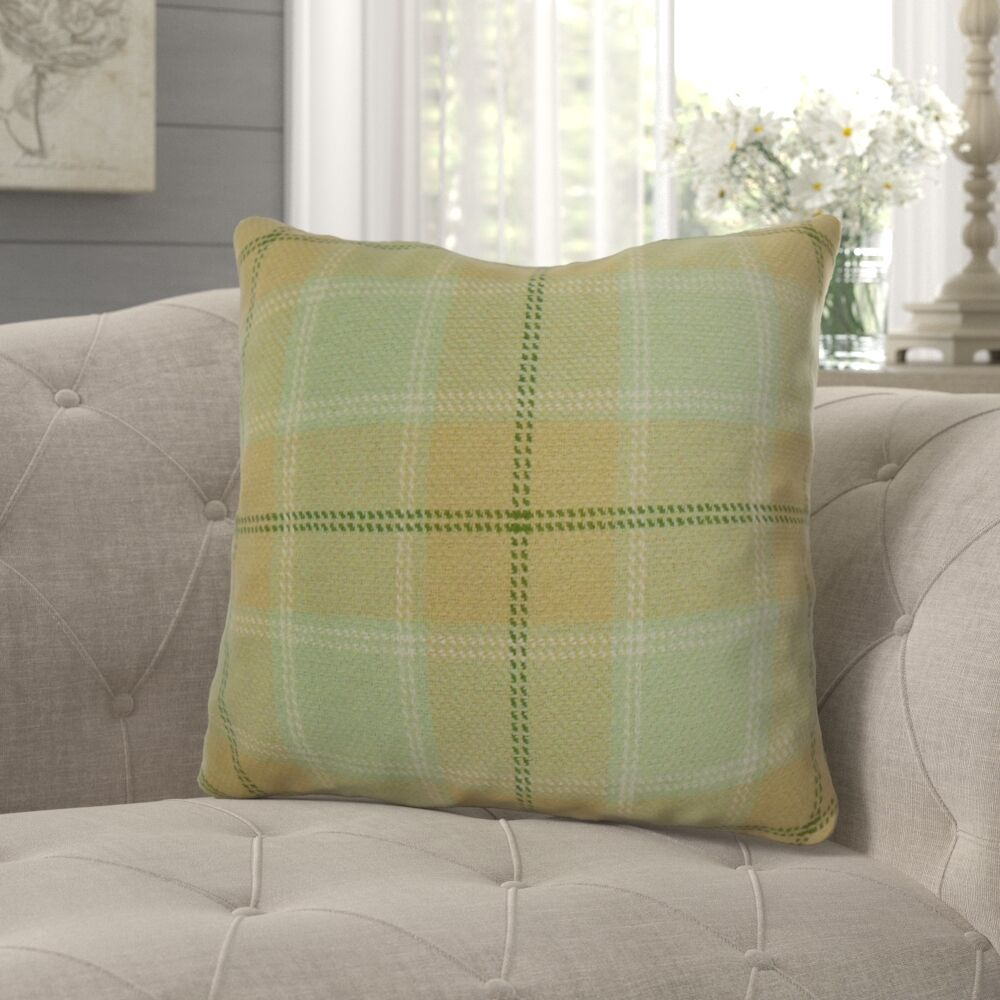 Merchant Plaid Pillow Color: Mint, Size: 22