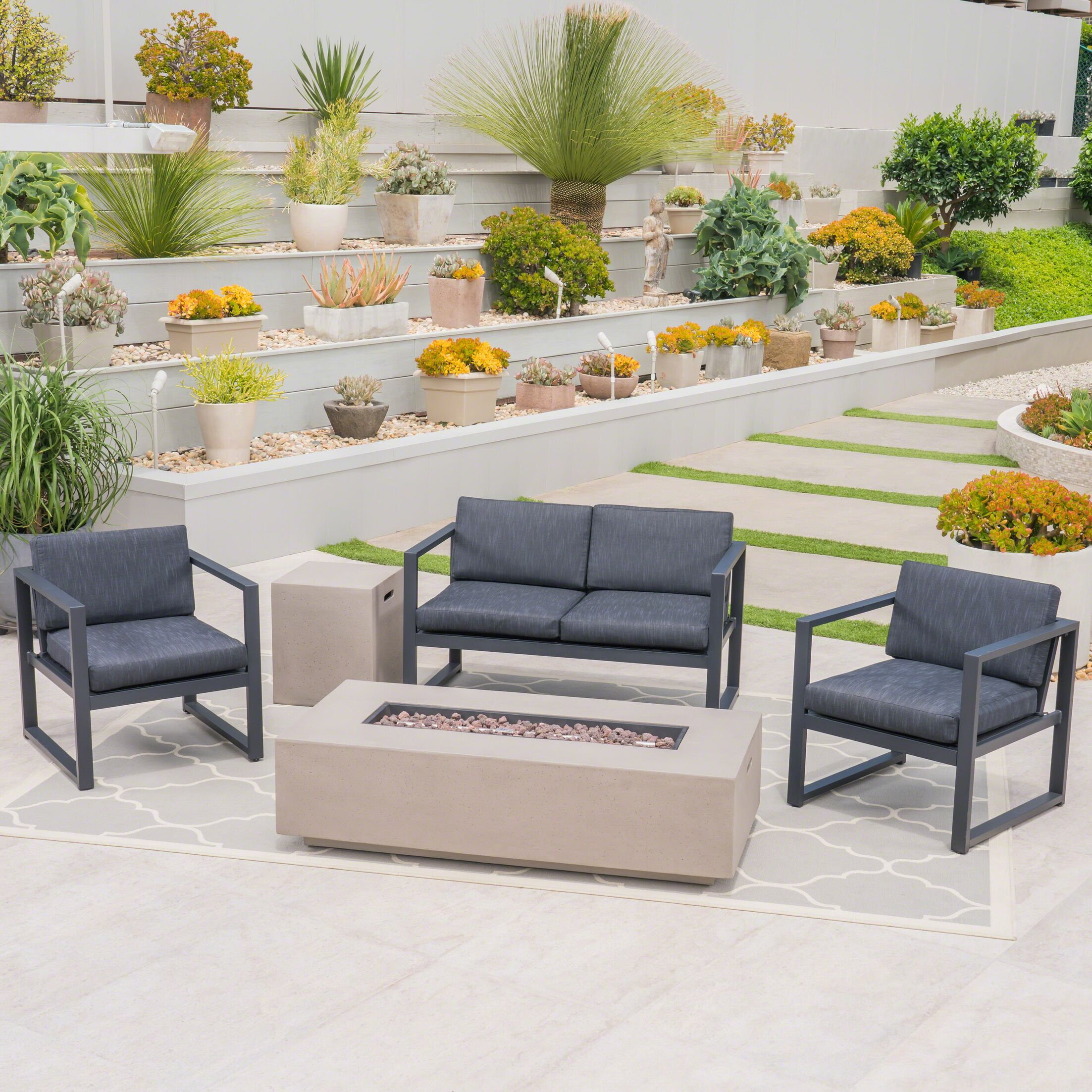 Frankfort Outdoor 5 Piece Sofa Seating Group with Cushions Frame Finish: Brown/Dark Gray