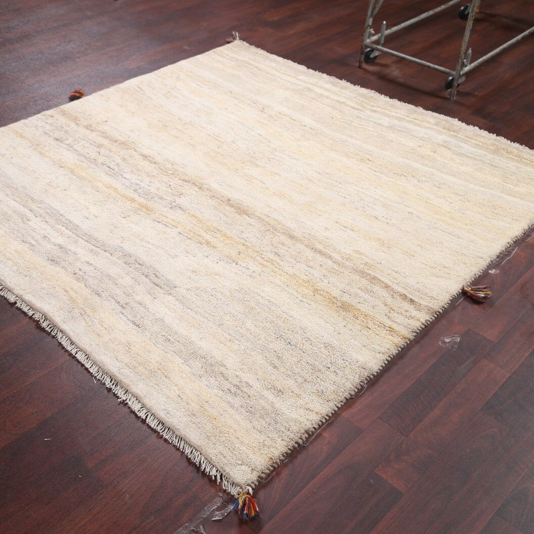One-of-a-Kind Traditional Gabbeh Shiraz Persian Hand-Knotted 5'2