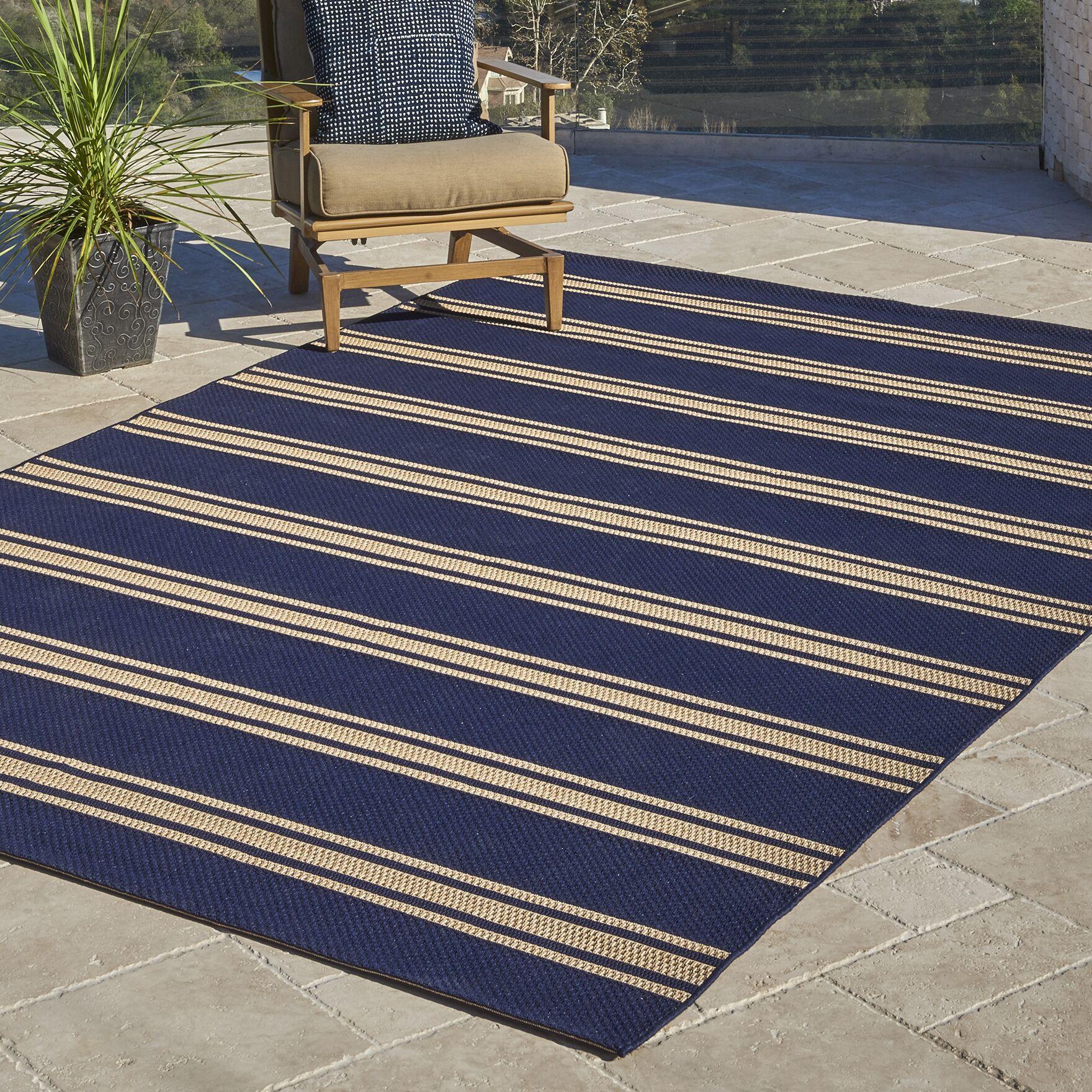 Fazeley Navy/Grain Indoor/Outdoor Area Rug Rug Size: Rectangle 5'3
