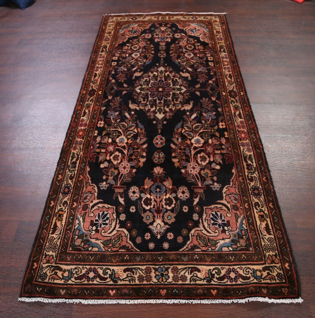 One-of-a-Kind Animal Bird Pictorial Floral Hamedan Persian Hand-Knotted 3'11