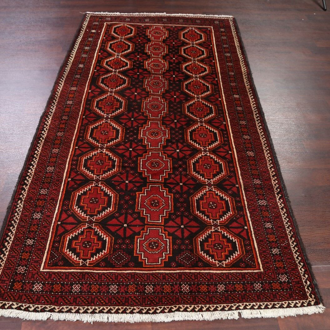 One-of-a-Kind Traditional Geometric Tribal Balouch Persian Hand-Knotted 4'6