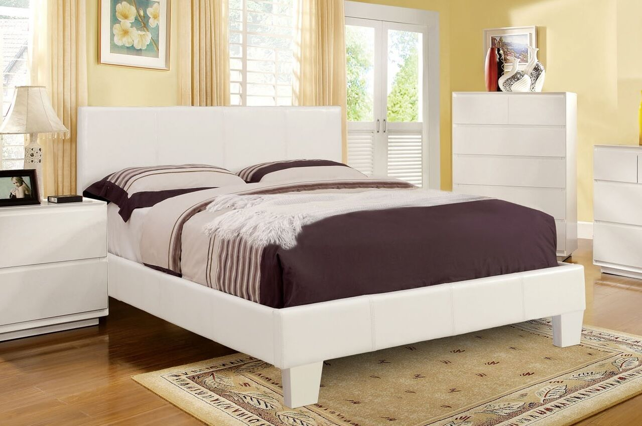 Zac Upholstered Platform Bed Size: California King, Color: White