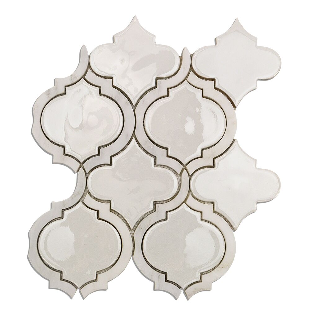 Oracle Random Sized Mixed Material Mosaic Tile in Glacier White