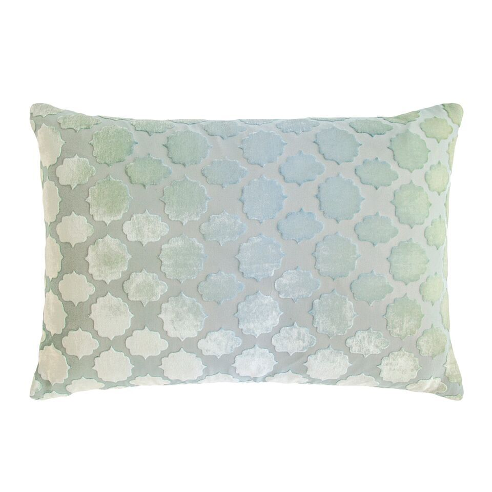 Mod Fretwork Velvet Lumbar Pillow Color: Ice
