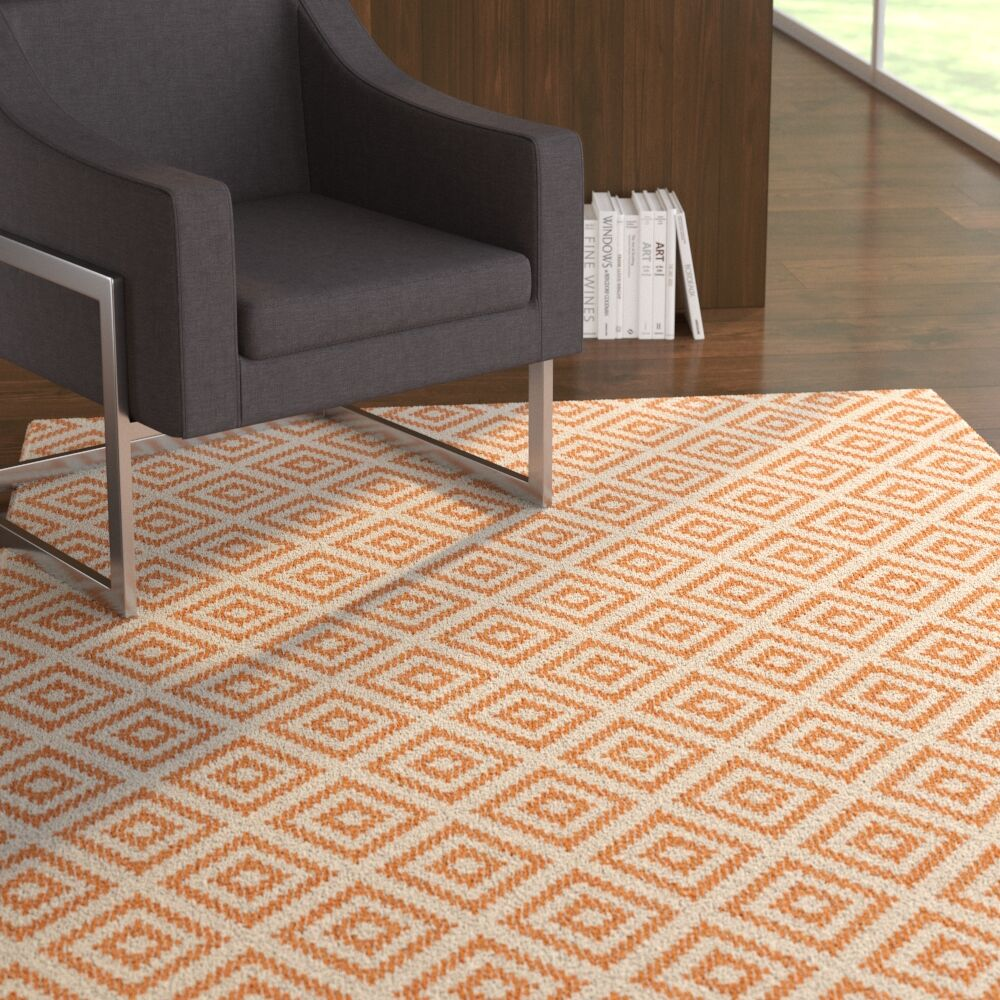 Haylie Stairstep Diamond Orange Area Rug Rug Size: Rectangle 3' x 5'