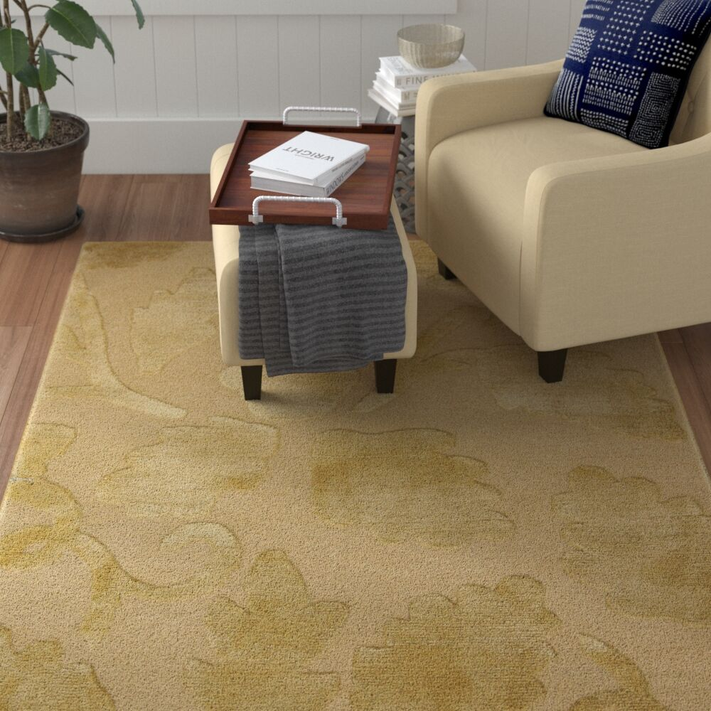 Mcclaran Tibetan Hand-Knotted Beige/Gold Area Rug
