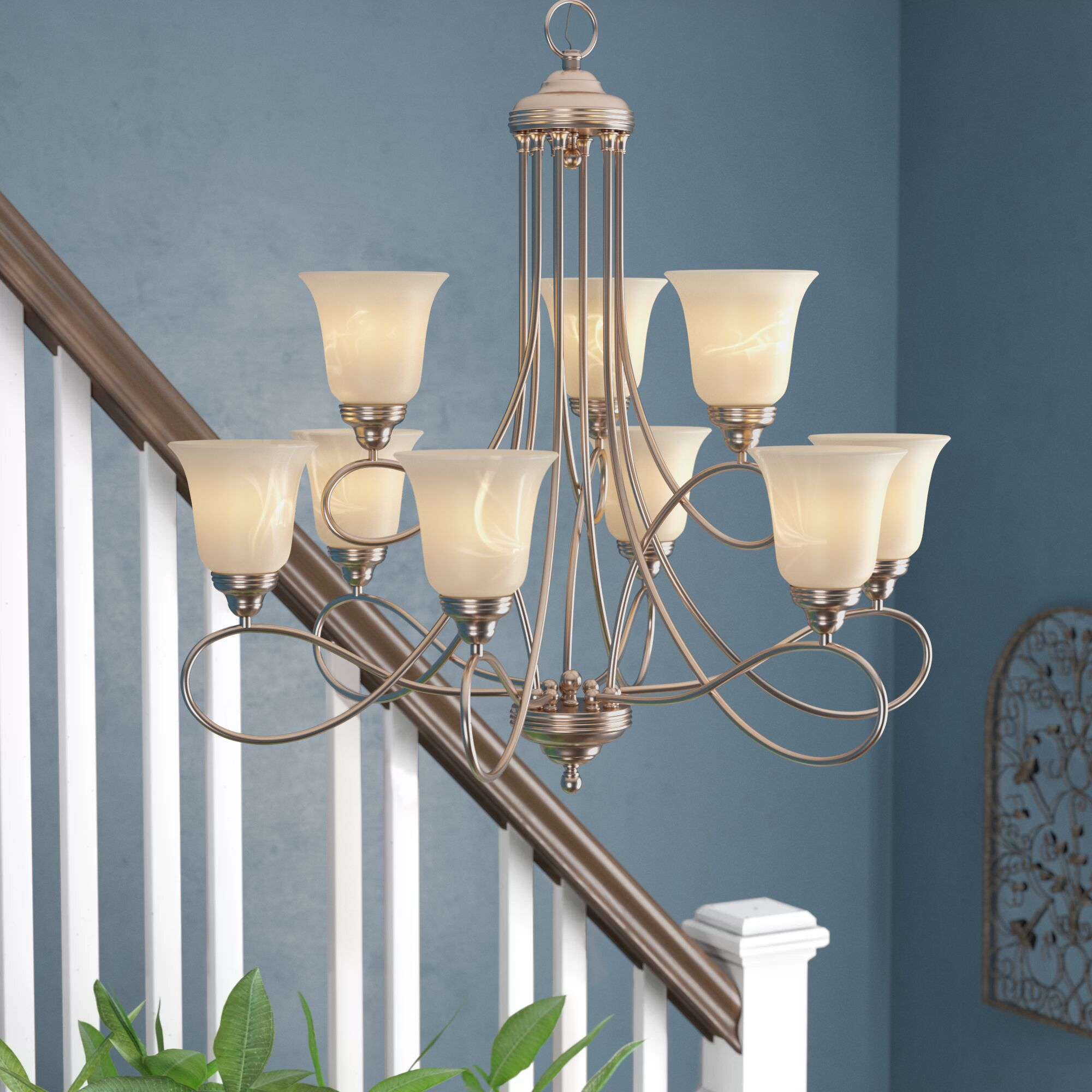 Norwood 9-Light Shaded Chandelier Finish: Satin Nickel with Marble Shade