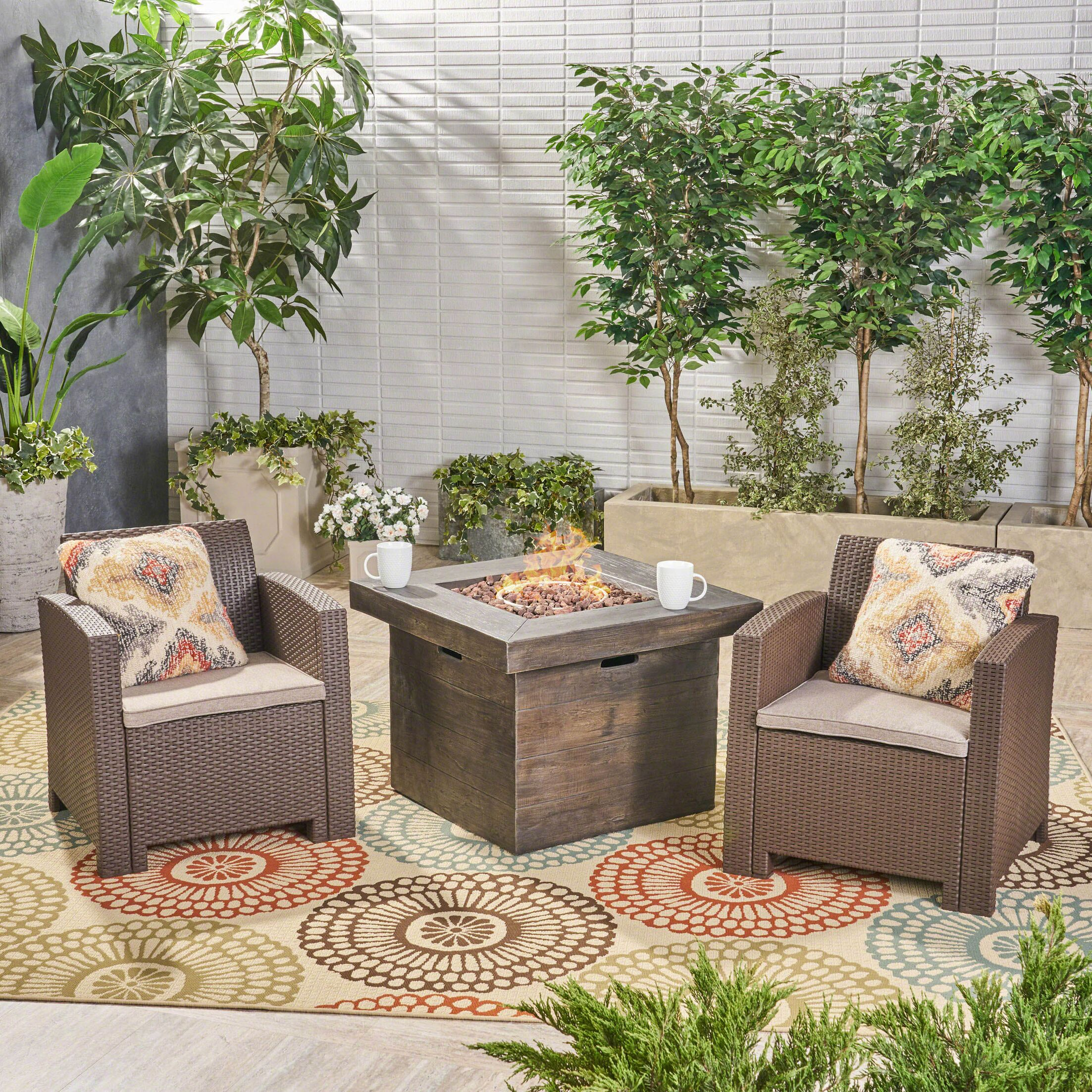 Helena Outdoor 3 Piece Rattan Sofa Seating Group with Cushions Frame Finish: Brown, Cushion Color: Mixed Beige
