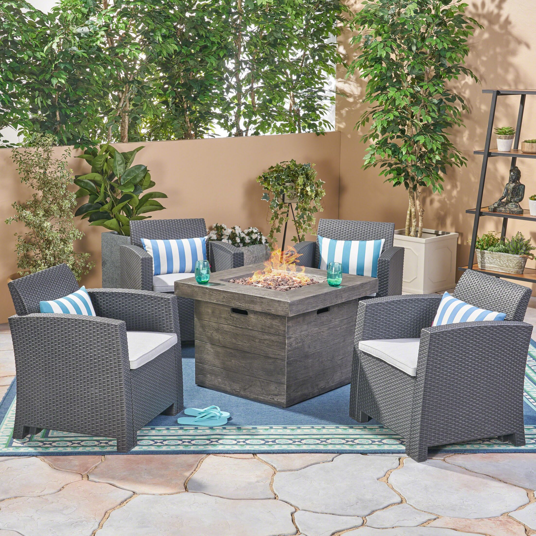Helena Outdoor 5 Piece Rattan Sofa Seating Group with Cushions Frame Finish: Charcoal, Cushion Color: Light Gray