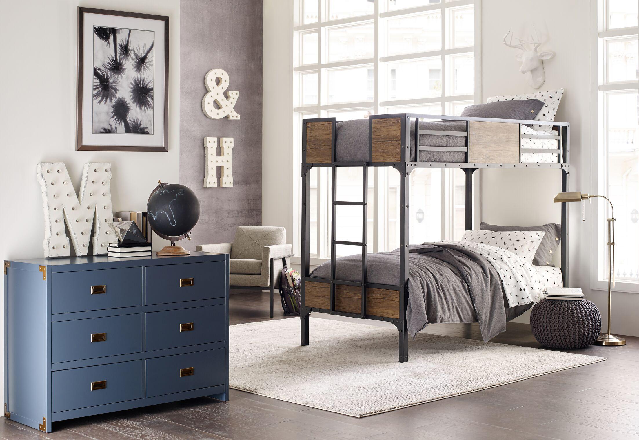 Bridgeton Distressed Modern Sleek Gray/Cream Area Rug Rug Size: Rectangle 9'3