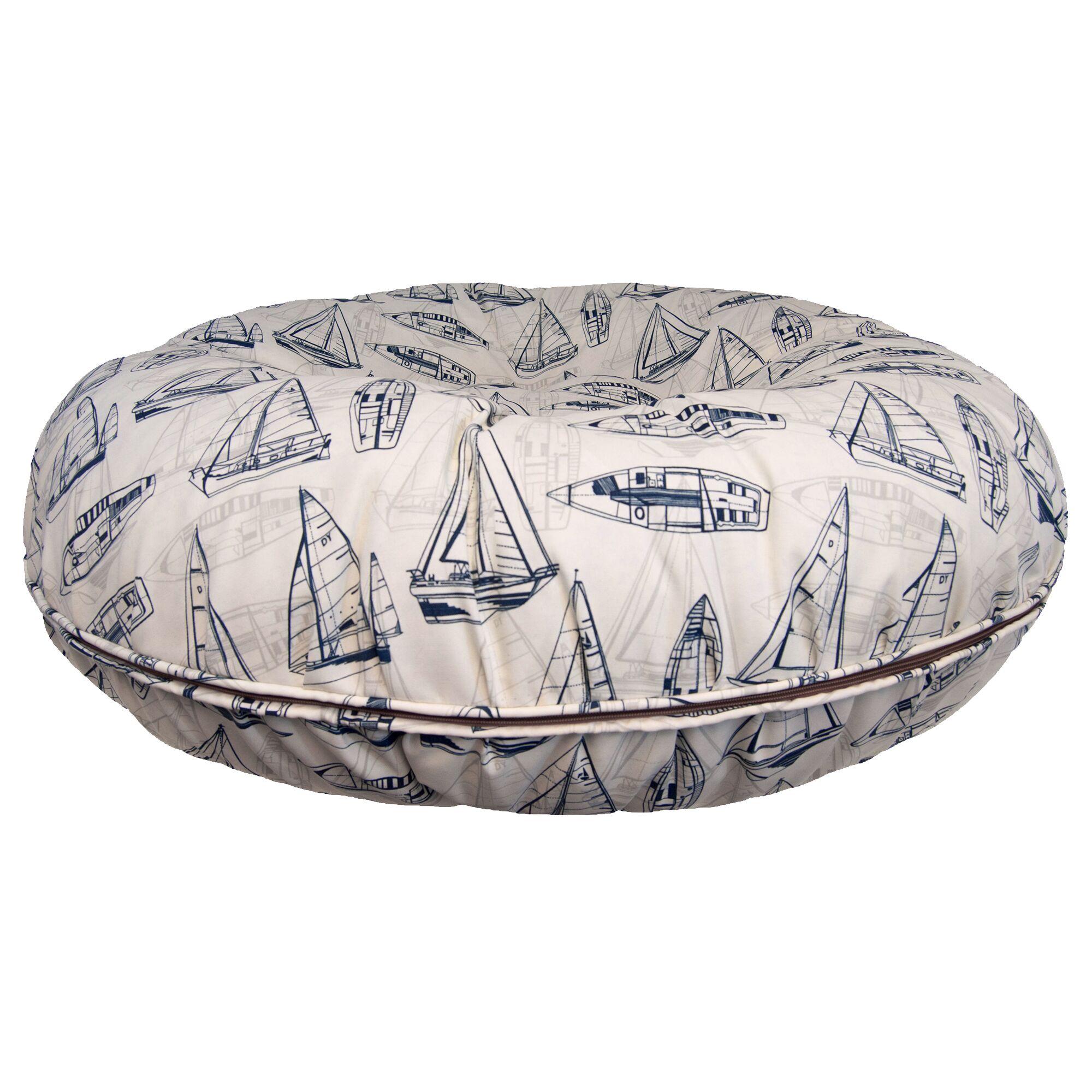 Bagel Navy Sail Boat Pillow Size: Medium (36