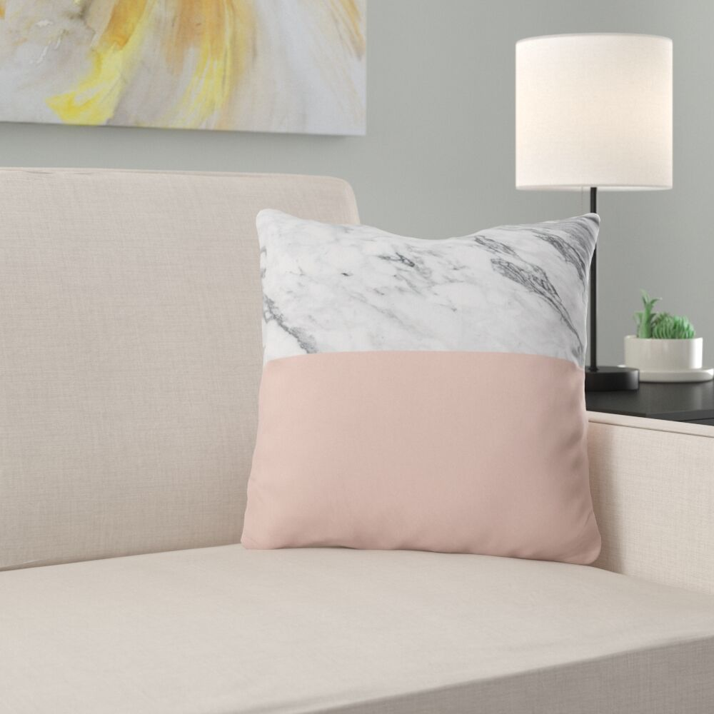 Kelly Haines Color Block Marble Throw Pillow Size: 20
