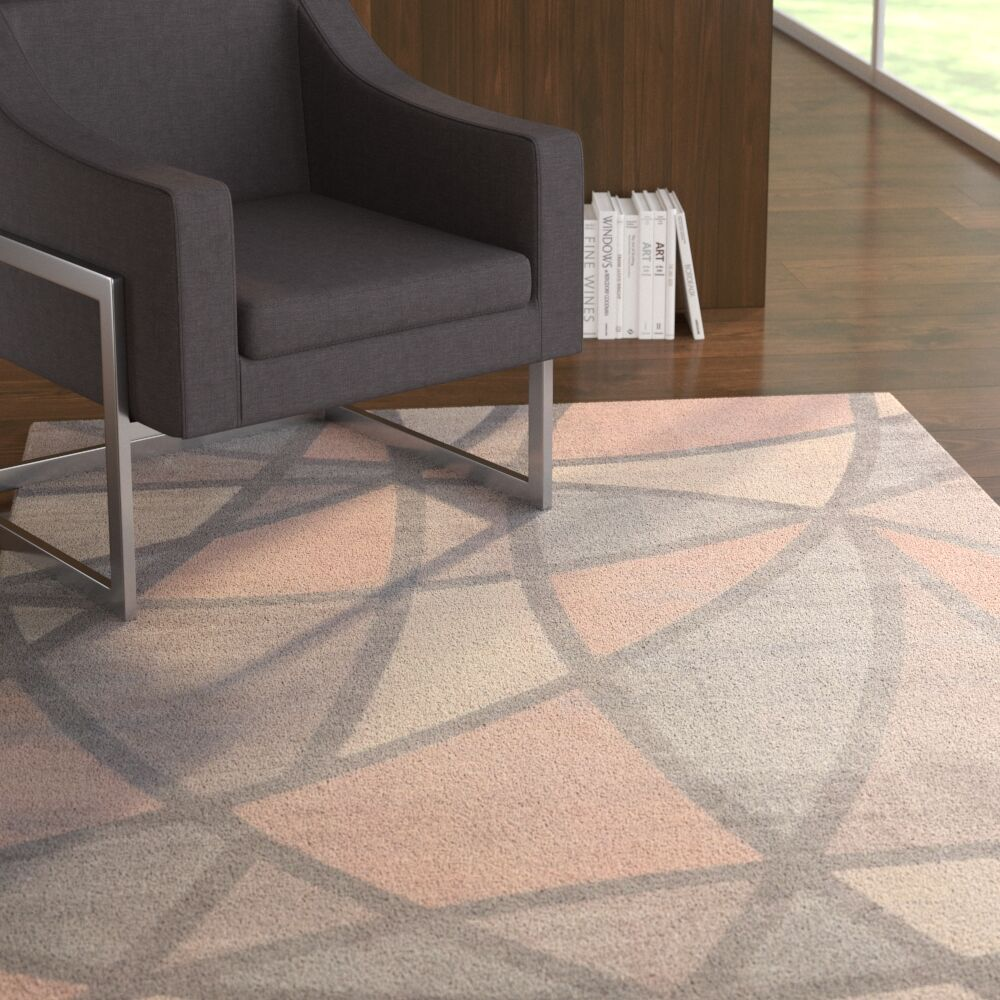 Maisy Geometric Gray/Beige Area Rug Rug Size: Rectangle5' x 7'