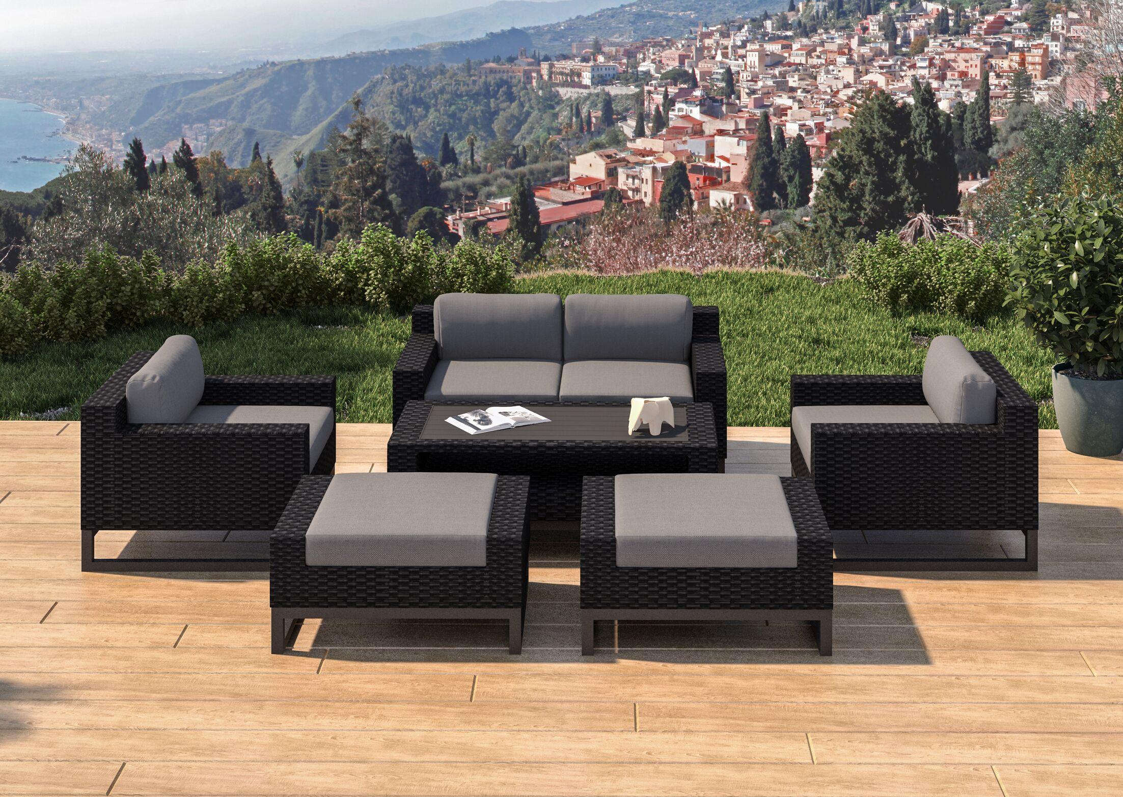 Santino 7 Piece Rattan Sofa Seating Group with Cushions