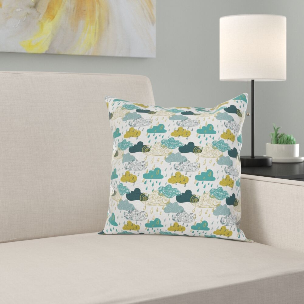 Rainy Clouds Square Pillow Cover Size: 16