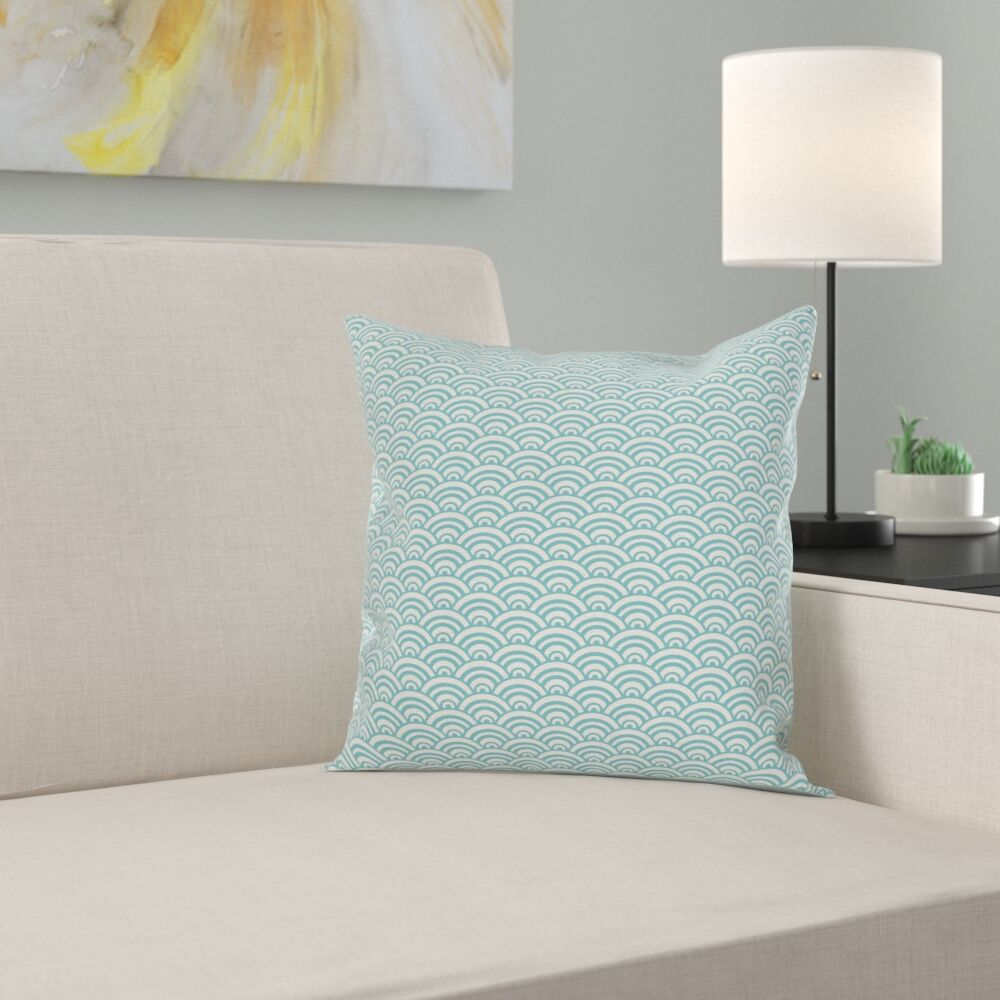 Aqua Curvy Lines Bubbles Sea Square Pillow Cover Size: 20
