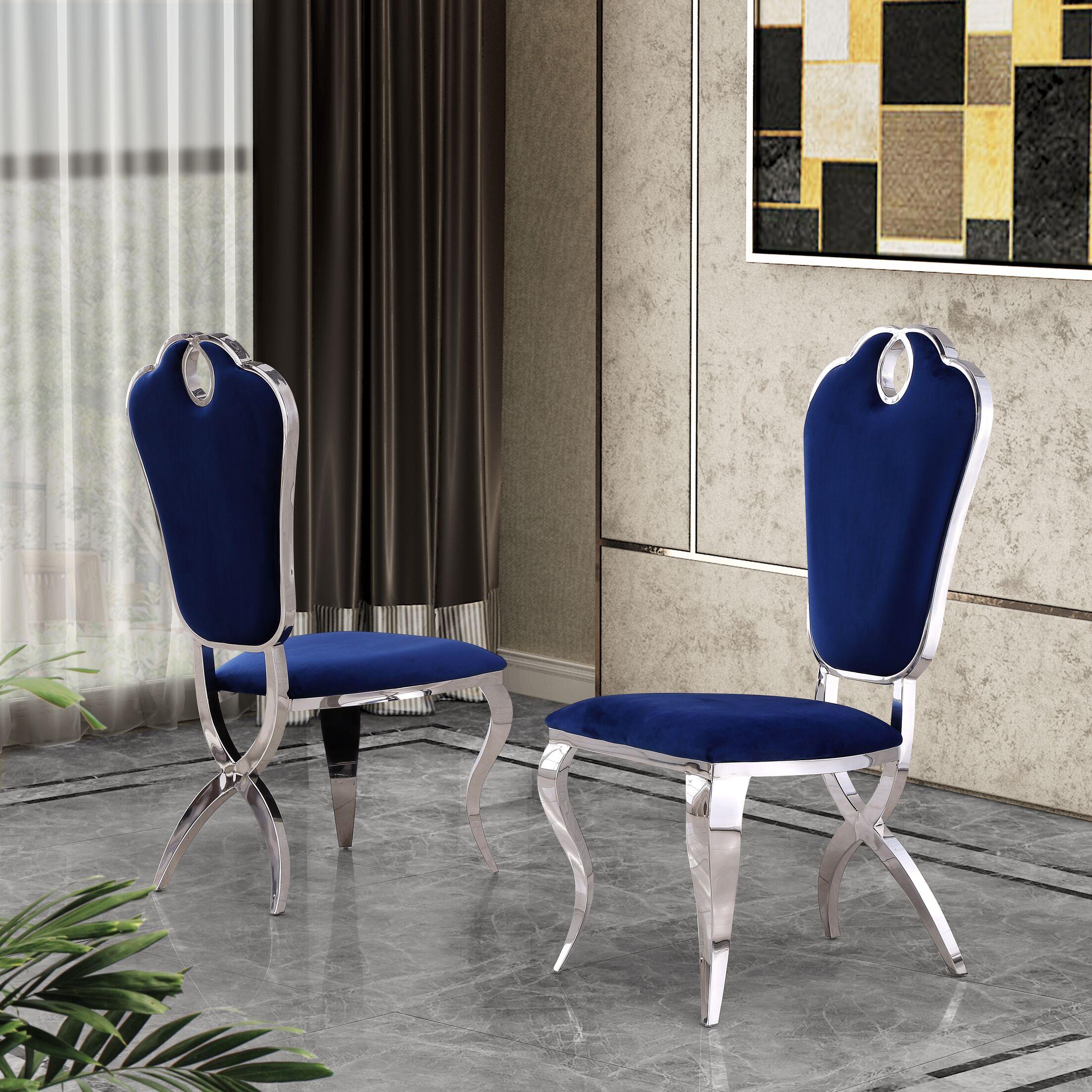 Malt Upholstered Dining Chair Upholstery Color: Navy Blue