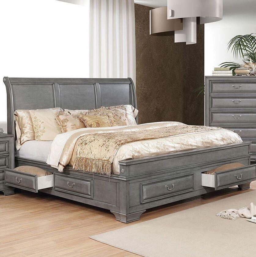 Crowborough Storage Sleigh Bed Size: Queen, Color: Gray