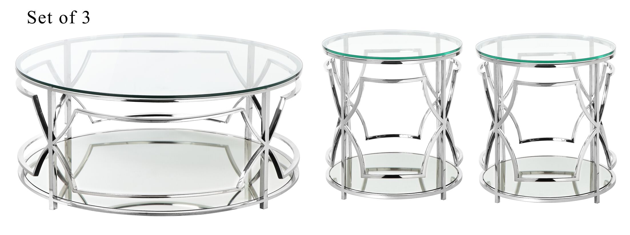 George Living Room 3 Piece Coffee Table Set Color: High Polish Steel