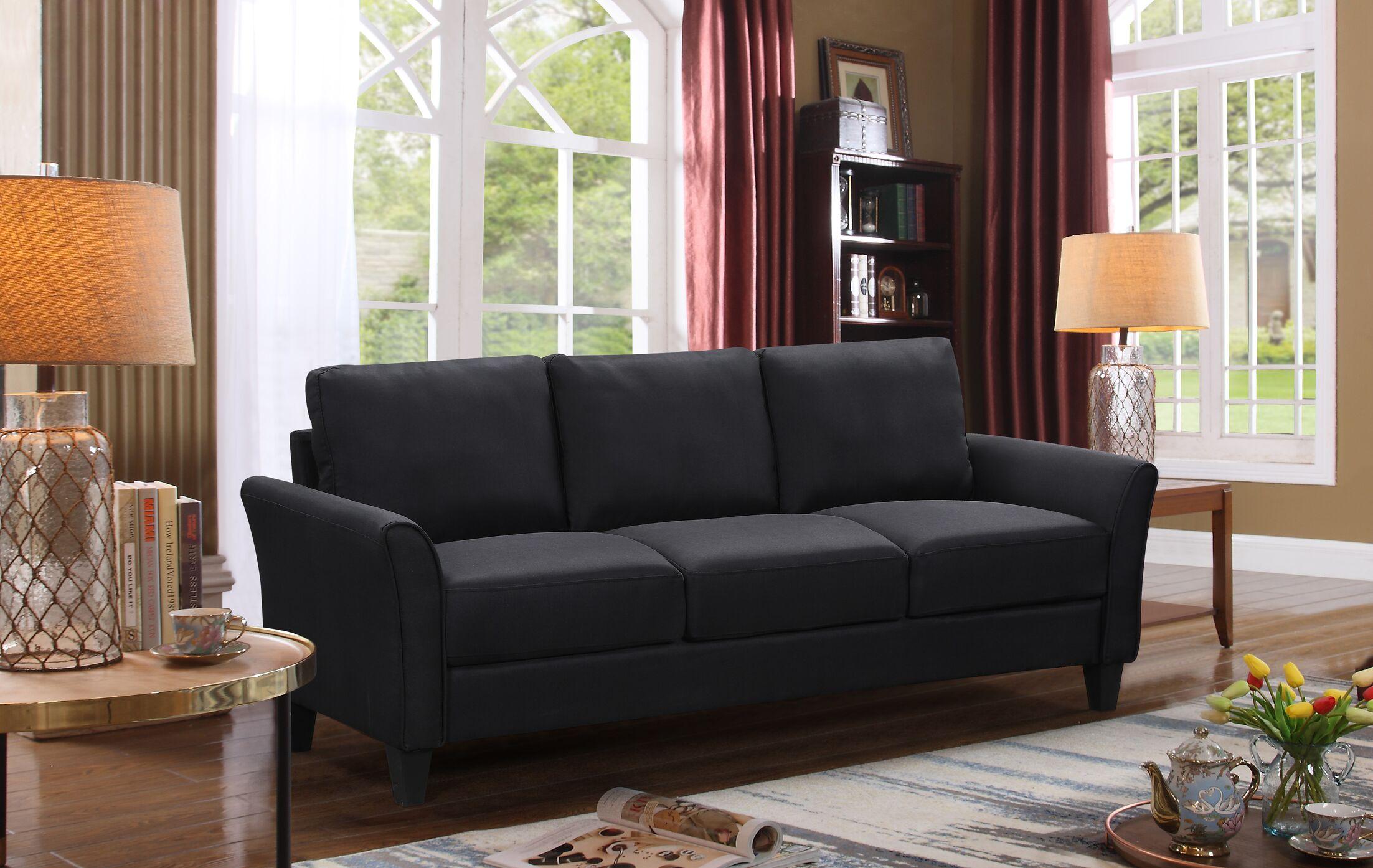 Mcnew Arm Sofa Upholstery: Black