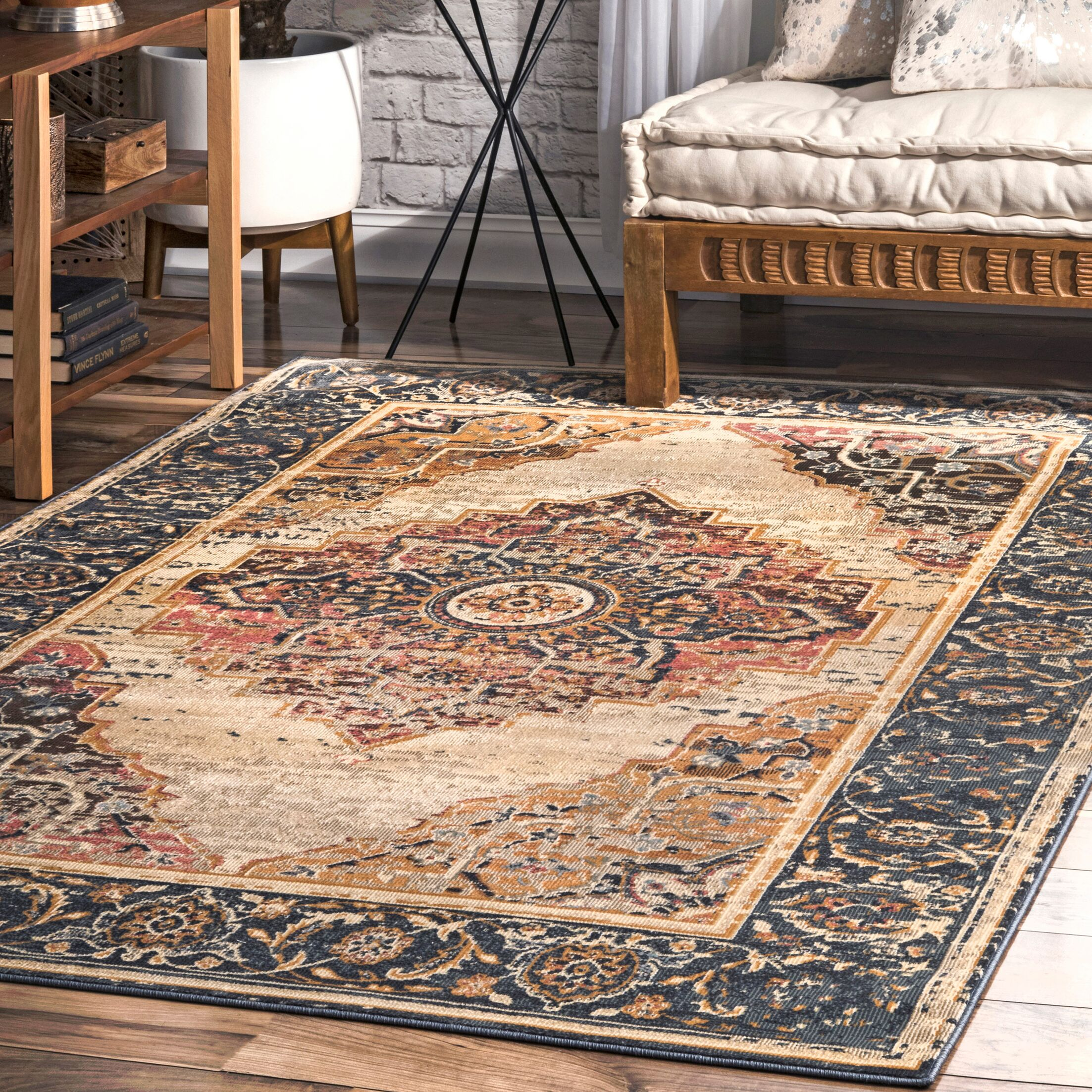 Ackerly Dark Blue/Beige Area Rug Rug Size: Rectangle 7' 10