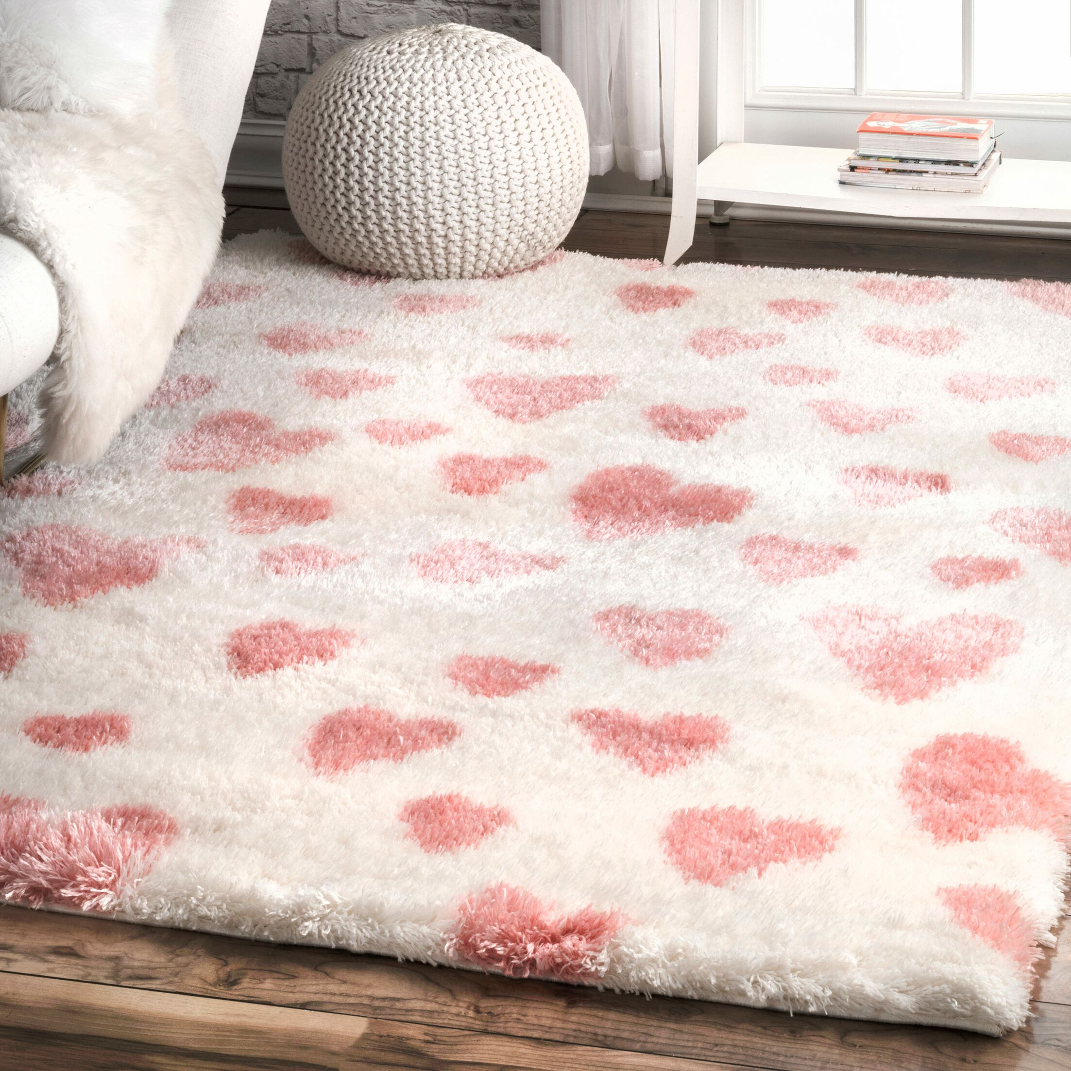 Becky Pink/White Area Rug Rug Size: Rectangle 5' 3