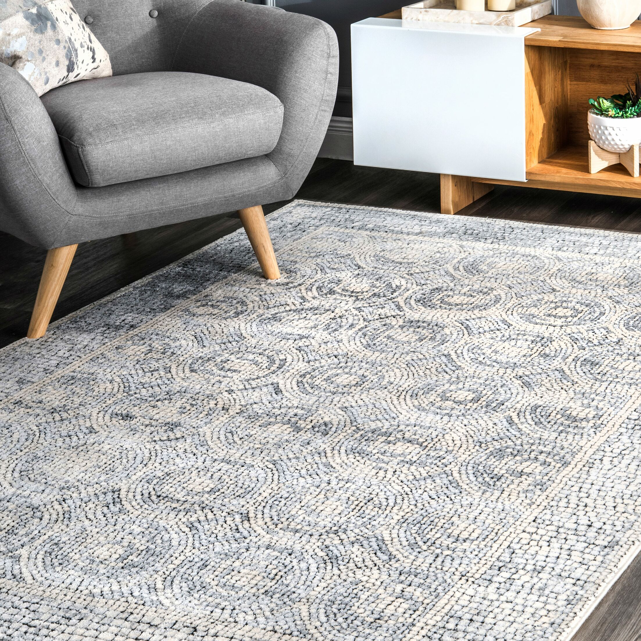 Features: -Origin: Turkey.-This rug brings a perfect addition to your home.-Primary Color: Light Gray.-Primary Pattern: Geometric.-Rug Shape: .-Construction: Machine Made.-Technique: Power Loom.-Material: Synthetic -Material Details: 50% Polyester, 50...