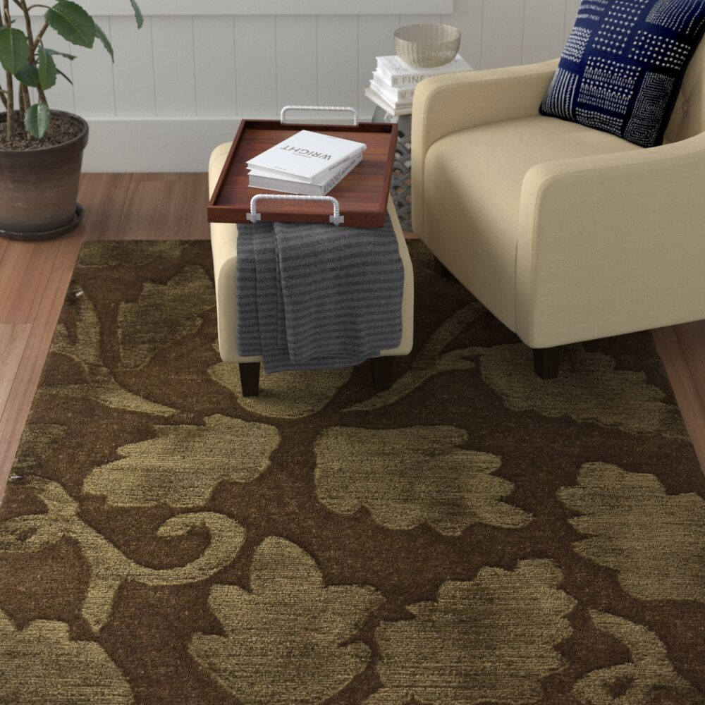 Mcconkey Tibetan Hand-Knotted Brown/Gold Area Rug