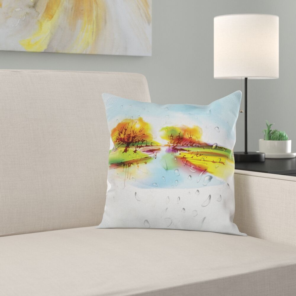 Fall Decor Lake Trees Pastoral Square Pillow Cover Size: 16