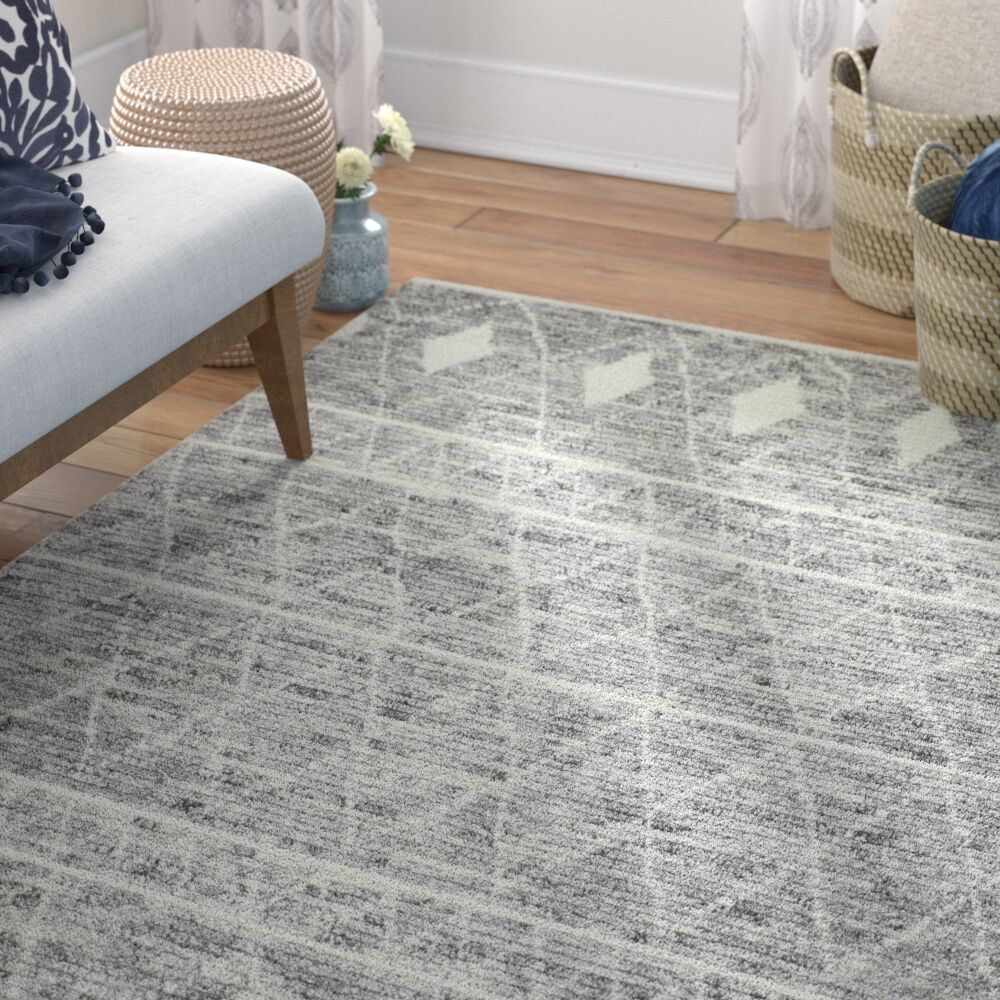 Daryl Hand-Knotted Wool Gray Area Rug Rug Size: Rectangle 8'6