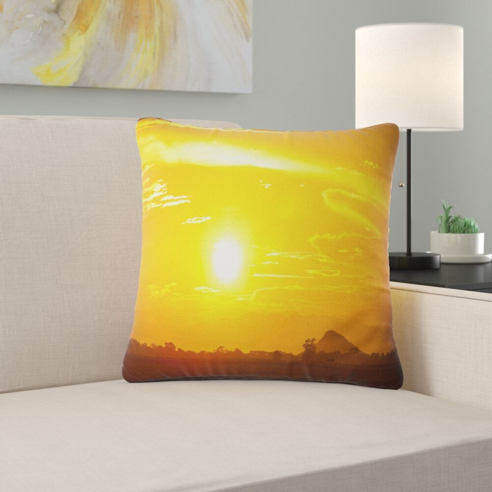 African Bright Sky at Sri Lanka Sunset Pillow Size: 16
