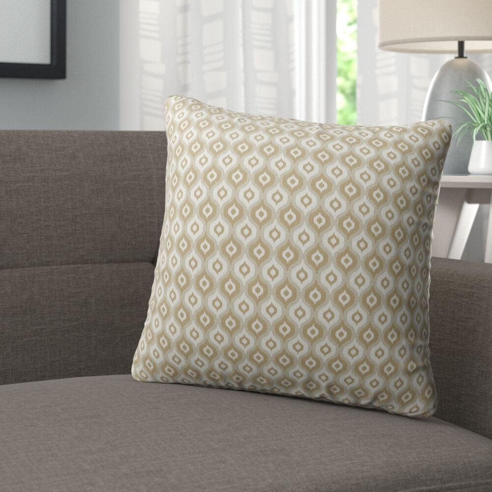 Underhill Burlap Indoor/Outdoor Throw Pillow Color: Tan/ Ivory/ Gold, Size: 26