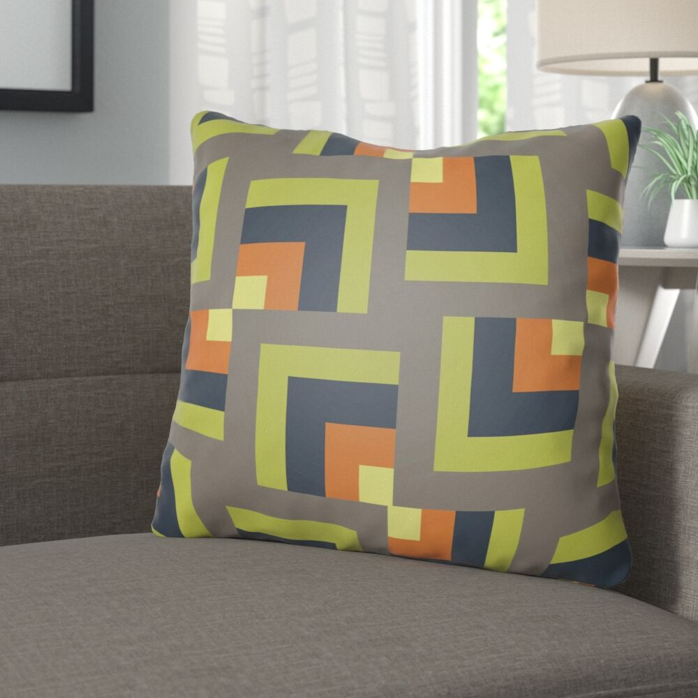 Wakefield Square Indoor Throw Pillow Color: Grey/Lime, Size: 20
