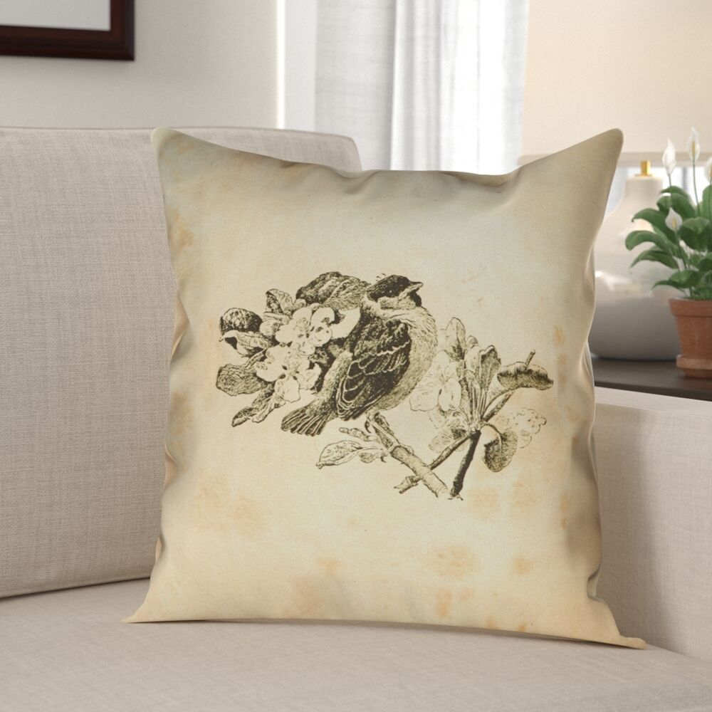 Venezia Vintage Bird Double Sided Pillow Cover Size: 14