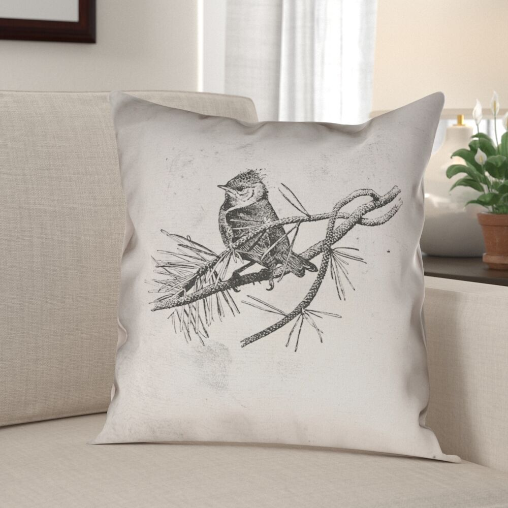 Venezia Vintage Bird Double Sided Pillow Cover Size: 26